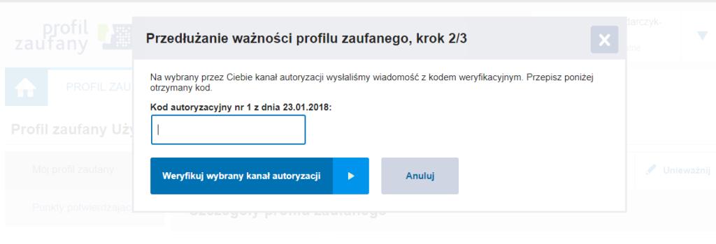 krok2 - zmiana numeru telefonu Profil Zaufany