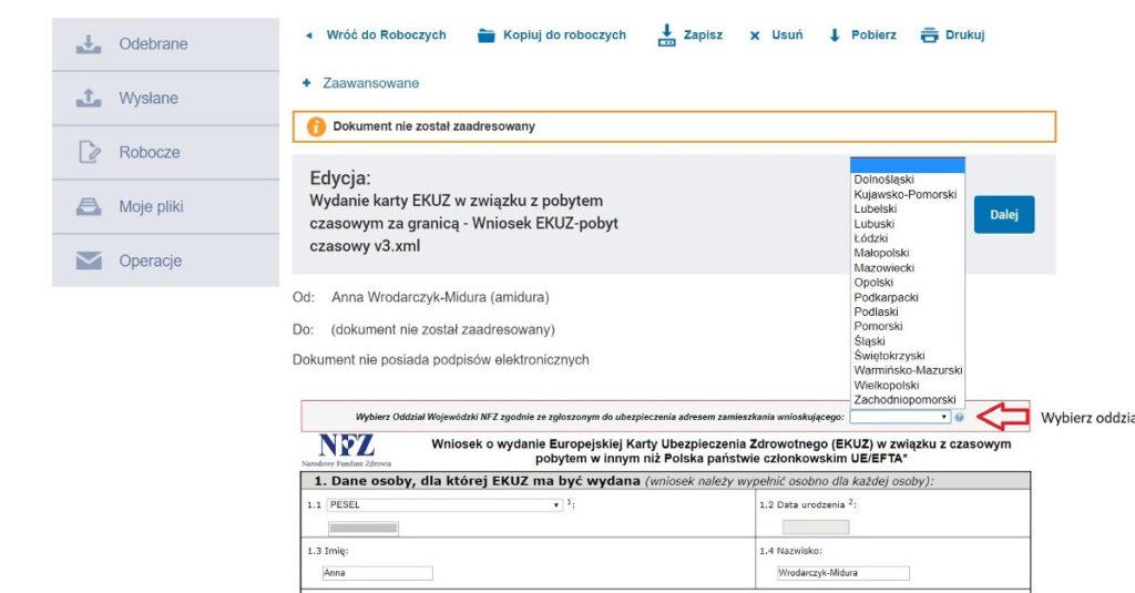 wniosek NFZ EKUZ - wybór oddziału NFZ