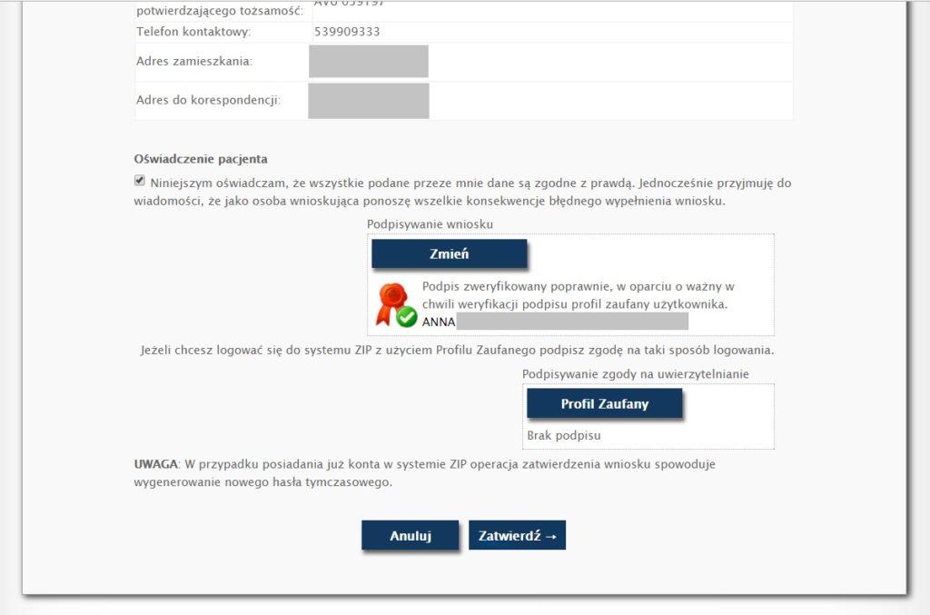Zintegrowany Informator Pacjenta (ZIP) - wybór sposobu logowania
